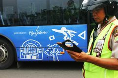 Policja cieszy się Jakarta obraz royalty free