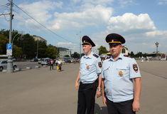 Policja na ulicach Moskwa zdjęcie stock