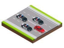 Policja w pogoni za przestępcą z samochodem przyśpiesza skradzionym jazda po pijanemu lub, Isometric policja Goni ilustrację Zdjęcia Stock