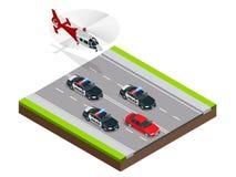 Policja w pogoni za przestępcą z samochodem przyśpiesza skradzionym jazda po pijanemu lub, Isometric policja Goni ilustrację Obrazy Stock