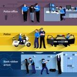 Policjantów Horyzontalnych sztandarów ludzie royalty ilustracja