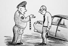 Policjant żąda pieniądze od kierowcy ilustracji