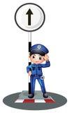Policjant blisko poczta ilustracji