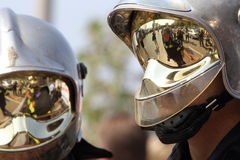 Policjant demonstracja obraz royalty free