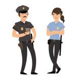 Policjant i policjantka w mundurze wektor royalty ilustracja