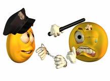 Policjant i rabusia ikony Fotografia Royalty Free