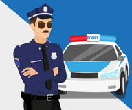 Policjant i samochód policyjny ilustracji