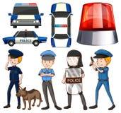 Policjant i samochody policyjni ilustracja wektor