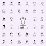 Policjant ikona Proffecions ikon ogólnoludzki ustawiający dla sieci i wiszącej ozdoby ilustracji