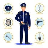 Policjant lub funkcjonariusz policji, policjant w mundurze ilustracja wektor