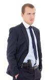 Policjant lub ochroniarz z pistoletem w spodniach odizolowywających na bielu fotografia stock