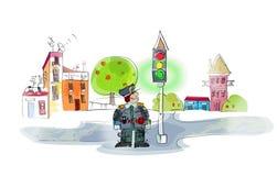 Policjant na obowiązku ilustracji