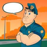 Policjant na ulicznym tle ilustracji