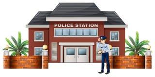 Policjant na zewnątrz komendy policji ilustracja wektor