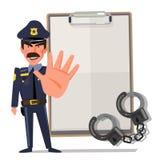 Policjant podtrzymywał rękę w przerwa gescie charakteru projekt - wektorowa ilustracja ilustracji
