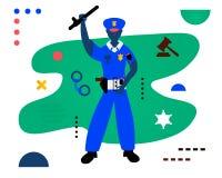 Policjant Policjanta charakteru projekt Kreatywnie wektorowa ilustracja robić w abstrakcjonistycznym składzie royalty ilustracja
