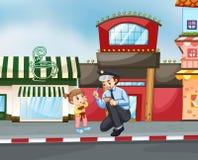 Policjant pomaga out przegranej dziewczyny ilustracja wektor