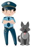 Policjant pozycja z milicyjnym psem royalty ilustracja