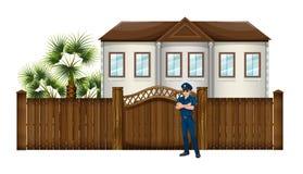 Policjant przed domem ilustracja wektor