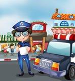 Policjant przy ruchliwą ulicą ilustracji