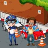 Policjant przy wypadkową sceną ilustracji