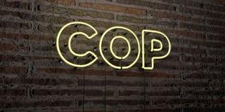 POLICJANT - Realistyczny Neonowy znak na ściana z cegieł tle - 3D odpłacający się królewskość bezpłatny akcyjny wizerunek ilustracja wektor