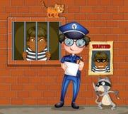 Policjant trzyma pióro i papier z dwa kotami w więzieniu ilustracji