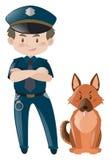 Policjant w jednolitej pozyci z psem ilustracji