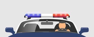 Policjant w samochodzie policyjnym ilustracja wektor