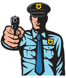 Policjant wskazuje pistolet Zdjęcia Royalty Free