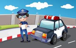 Policjant wzdłuż drogi ilustracja wektor