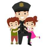 Policjant z dzieciakami ilustracja wektor