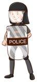 Policjant z hełmem i osłoną royalty ilustracja