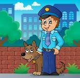 Policjant z strażowego psa wizerunkiem 2 ilustracja wektor
