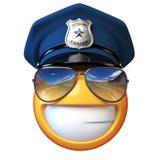 Policjanta emoji odizolowywający na białym tle, policjant z okulary przeciwsłoneczni emoticon 3d renderingiem ilustracja wektor