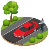 Policjanta writing mknięcia bilet dla kierowcy Drogowego ruchu drogowego przepisy bezpieczeństwa Funkcjonariusz policji daje bile Obrazy Royalty Free