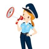 Policjantka Z megafonu zawiadomieniem ilustracja wektor