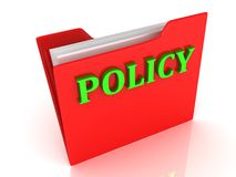 POLICY bright green letters on a red folder Stock Photo