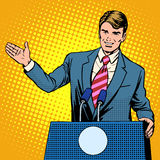 Policy candidate in the elections. Pop art retro style. The man at the podium speaks. Election promises royalty free illustration