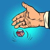 Policy choice USA Russia UK. hand throws dice. Comic cartoon pop art retro vector illustration drawing vector illustration