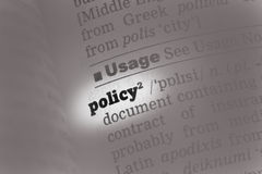 Policy  Dictionary Definition Royalty Free Stock Images