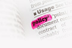 Policy  Dictionary Definition. Single word with soft focus Royalty Free Stock Photography