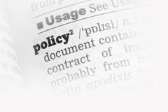 Policy  Dictionary Definition Stock Images