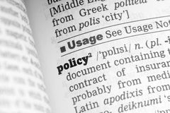 Policy  Dictionary Definition. Single word with soft focus Royalty Free Stock Photo