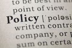 Policy. Dictionary definition of the word policy Royalty Free Stock Photography