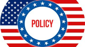 Policy election on a USA background, 3D rendering. United States of America flag waving in the wind. Voting, Freedom Democracy, vector illustration