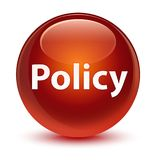 Policy glassy brown round button. Policy isolated on glassy brown round button abstract illustration Stock Photos