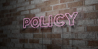 POLICY - Glowing Neon Sign on stonework wall - 3D rendered royalty free stock illustration Royalty Free Stock Image