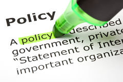 'Policy' highlighted in green Stock Photo