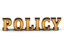 Policy inscription large golden letter Royalty Free Stock Photography